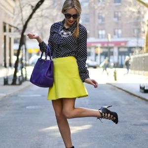 J. Crew Neon Yellow/Green Fluted Skirt